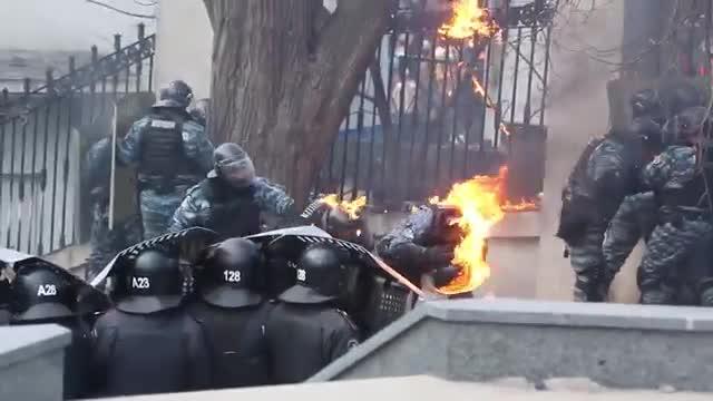 Walki z policją na Ukrainie